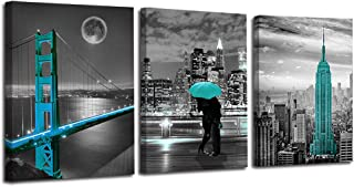 Ardemy Canvas Wall Art Cityscape Teal Painting Golden Gate Bridge New York City Pictures, 12