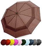 Windproof Travel Umbrella - Compact, Double Vented Folding Umbrella w/Automatic Open & Close Button - Portable, Lightweight Outdoor & Golf Rain Umbrellas w/UV Protection, Caffe Latte Polka Dots