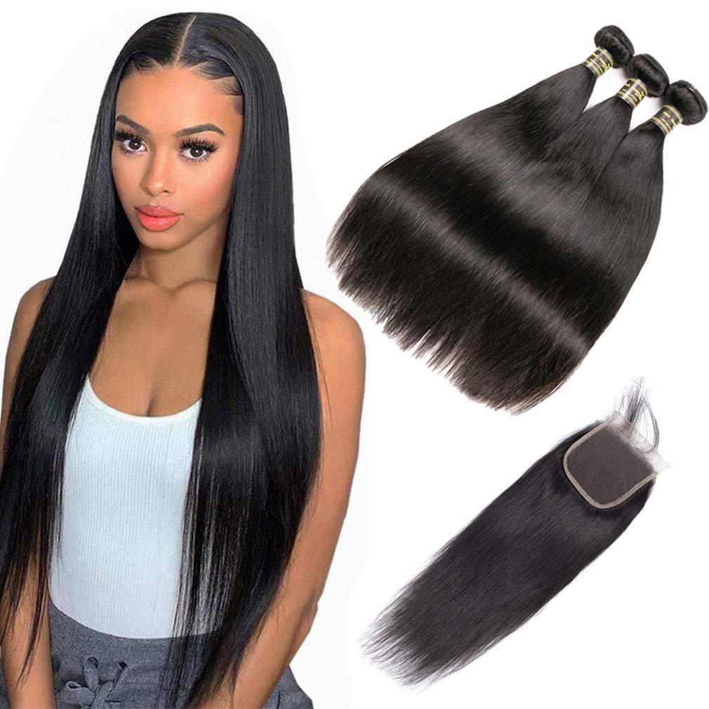 Loveach hair 9A Elegant Brazilian Straight Virgin Detroit Mall 3 Hair with Bundles Cl
