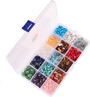 PLTbeads Natural Chips Stone Irregular 7-8mm Gemstone Beads 15 Multicolor With Box Set Value Pack For Loose Beads Jewelry ...