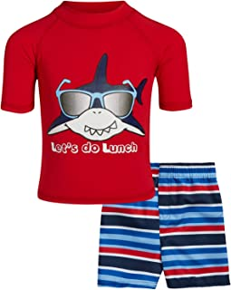 Sweet & Soft Baby Boys 2-Piece Rash Guard and Trunk Swimsuit Set- Short Sleeve (Infant/Toddler/Big Kid)