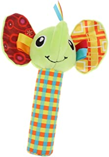 Generic Cute Stuffed Animal Baby Soft Plush Hand Rattle Squeaker Stick Toy - Elephant, as described