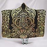 Wandlovers Disfraz vikingo de Odín, Martillo de cuervo con impresión de nudos, supersuave, con capucha, retro, de peluche, blanco, 130 x 150 cm