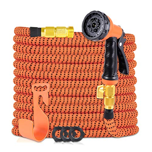 HIYUTOY Garden Hose Expandable Flexible Hose, Expanding Water Hose Kit Collapsible with 10 Function Spray Nozzle, Durable Stronge Hose Fabric-Multi Latex Core, No Kink Tangle (50FT, Orange)