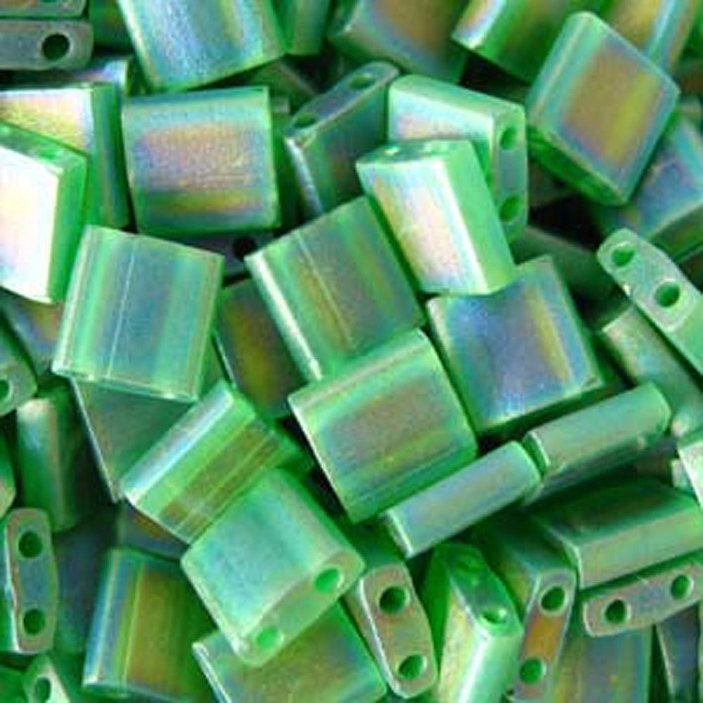 Miyuki 5mm Tila 2 Hole Square Beads TRANS GREEN Crystal Beads 7.2Gr No 146 wyzftcsjtrb374