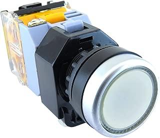 YC-P22PMO-IW-1 YuCo 22MM White Flush Push Button MOMENTARY Illuminated 24V AC/DC 1NO/1NC Contact Block. IEC 947 CERTIFICATED 250V Maximum,Contact 10AMP