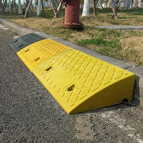 Rampas para Coches - Rampa De Plástico Compuesto para Bordillos, Portátiles Rampas De Acceso Antideslizante, para Adecuado para Peldaños De 12-15cm De Altura - 50x27x13cm (Negro/Amarillo)