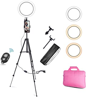 "Haton 10"" Selfie Ring Light with Tripod Stand & 2 Phone Holders for Live Stream Makeup Video Recording, Dimmable LED Camer..."