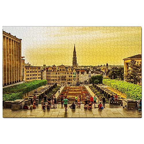 Bélgica Catedral Bruselas Puzzle 1000 Piezas para Adultos Familia Rompecabezas Recuerdo Turismo Regalo
