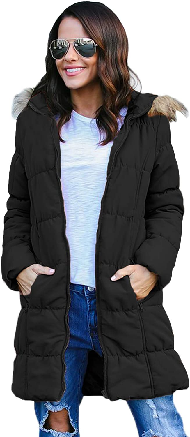 YEEO Womens Winter Down Warm Thick Coat Jacket Solid Color Lightweight Long Sleeves with Pockets