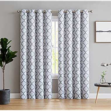 HLC.ME Lattice Print Thermal Insulated Room Darkening Blackout Window Curtains for Bedroom - Platinum White & Grey - 52  W x 84  L - Pair
