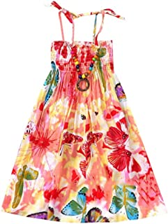 fd1d229234b LUBITY Fille Enfants Bohême Robe de Plage Longue en Vacances avec Bracelet  Robes Filles Été Cotton