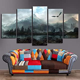 JSDJZSH Canvas Wall Art Pictures Home Decor 5 Pieces Game of Thrones Dragon Skyrim Paintings For Living Room Modular Prints Poster Frame