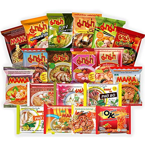 MAMA Top Ramen Instant Noodles Variety 15 Pack, Free Snacks Included