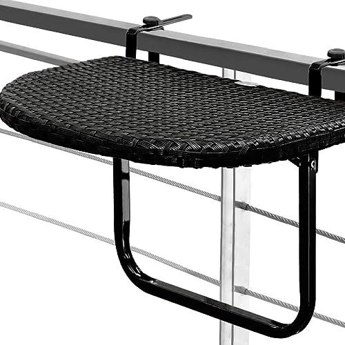 Mesa colgante para balcones y terrazas en poliratán negro de alta calidad ajustable en altura-
