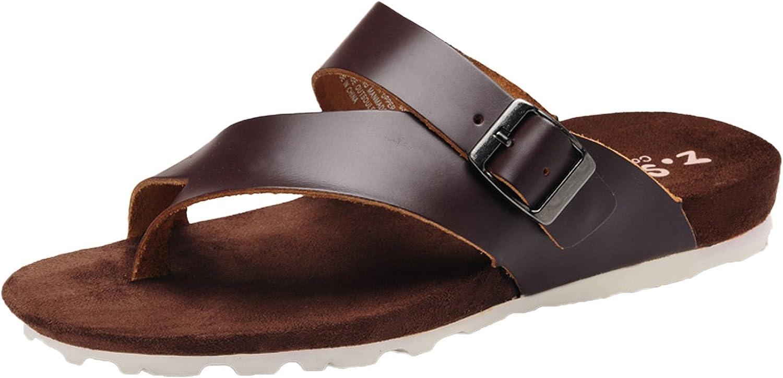 DQQ Men's Fashion Leather Thong Strap Sandal