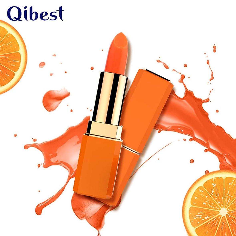 保湿口紅 Qibestブラッドオレンジ温度変化口紅 保湿 カラー口紅、カップ口紅なし デイリーカラー リップラインを明るくする 異なるリップカラーは異なるリップスティックカラーを示します (オレンジ)