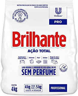Detergente em Pó de Uso Geral sem Perfume Brilhante Limpeza Total Pro Pacote 4kg, Brilhante