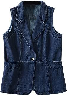 Women's Lapel Denim Vest Sleeveless Jean Jacket Coat