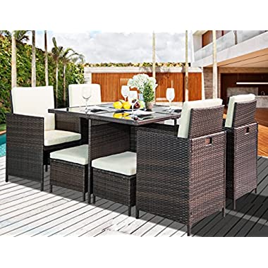 Leisure Zone 9-Piece Outdoor PE Rattan Wicker Patio Dining Table Set Garden Outdoor Patio Furniture Set (9-Piece, Brown)