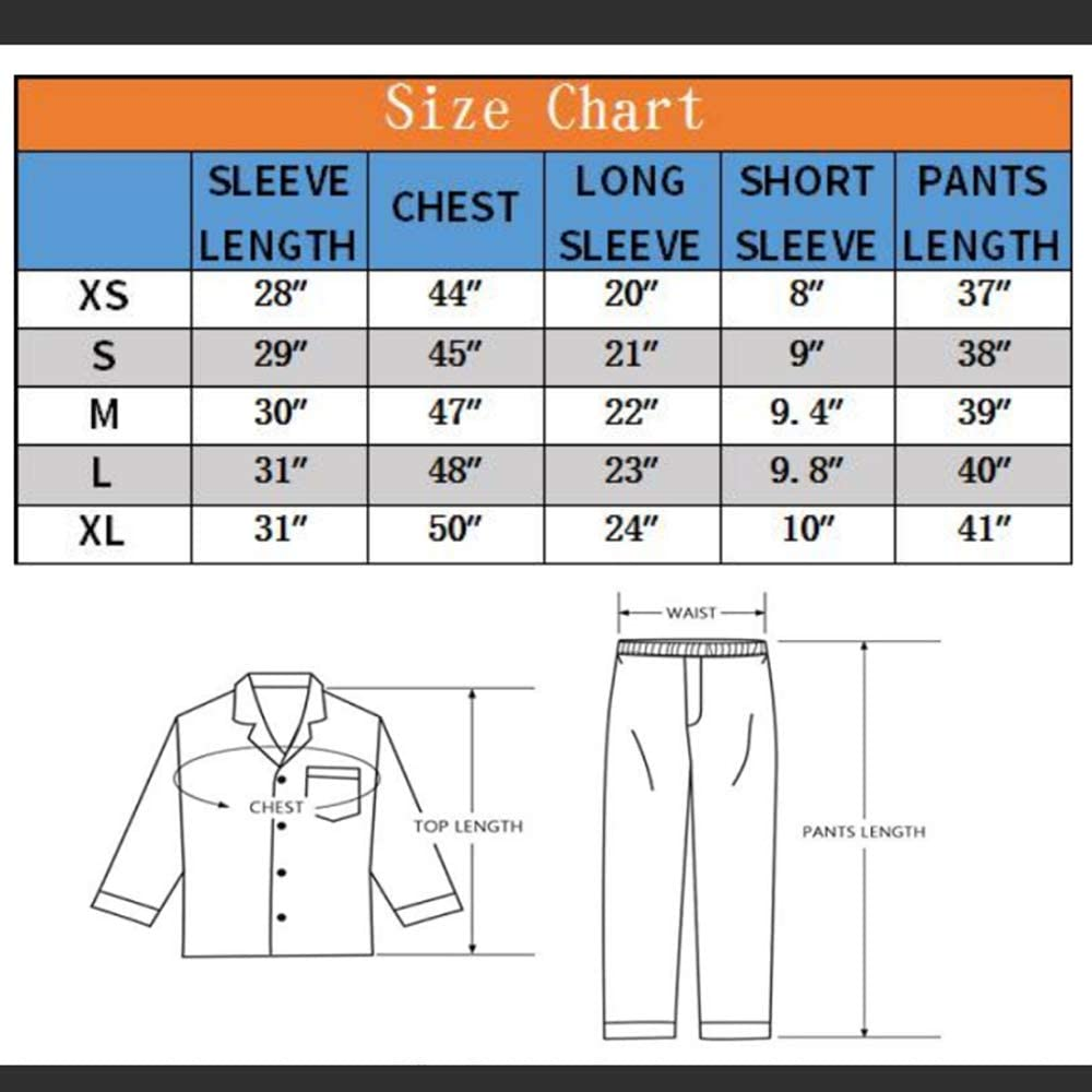 ZUEVI Men's Stain Pajamas set Classic Silk like Sleepwear Set Button-Down Loungwear Pj Sets