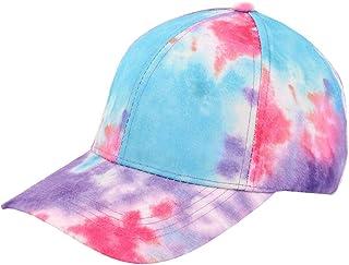 Surkat Tie Dye Baseball Hat Rainbow Ponytail Adjustable Cap Snapback for Women Men