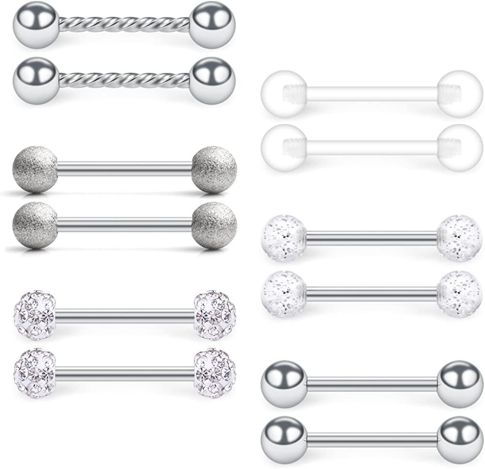 SCERRING 14G Stainless Steel Clear CZ Shield Nipple Ring Tongue Barbell Rings Bars Retainer Body Piercing Jewelry for Women Men 12-18PCS
