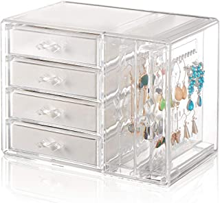Jewelry Organizer 4 Drawers 2 Earring Hanger Two-in-one, Clear Rings Bracelets Necklaces Box for Women, Girls Gift Beige