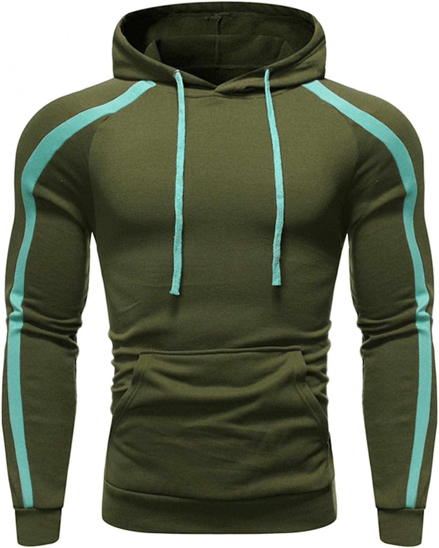 Men's Hoodie Stitching Color Athletic Long Sleeve Sweatshirt Casual Pullover Drawstring Hoodies for Men