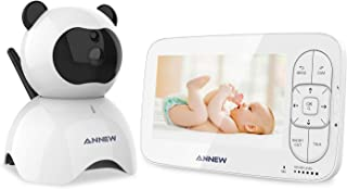 ANNEW Vigilabebés 5 LCD Bebé Monitor con Cámara Digital Inalámbrico con Visión Nocturna Modo VOX Monitoreo de Temperatura Comunicación Bidireccional Canción de cuna Ampliable a 4 Cameras
