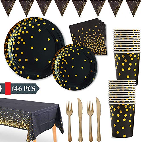 Black and Gold Party Supplies Golden Dot Disposable Party Dinnerware Includes Paper Plates Napkins Knives Forks Cups Banner for Graduation, Birthday, Cocktail Party, Serves 24 Birthday 9' Dinner Plates