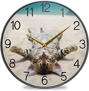 Chovy 掛け時計 サイレント 連続秒針 壁掛け時計 インテリア 置き時計 北欧 おしゃれ かわいい ネコ 猫 猫柄 海 砂浜 可愛い おもしろ 部屋装飾 子供部屋 プレゼント