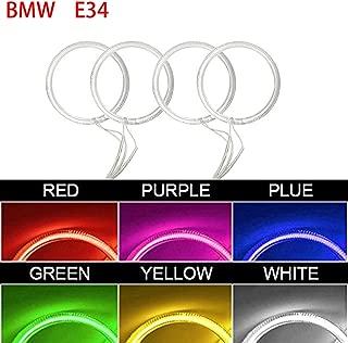 Qiuko 4x120mm Car CCFL Halo Rings Angel Eyes LED Headlights for BMW E32 E34 E30 DRL Car-Styling 6-Color (blue)
