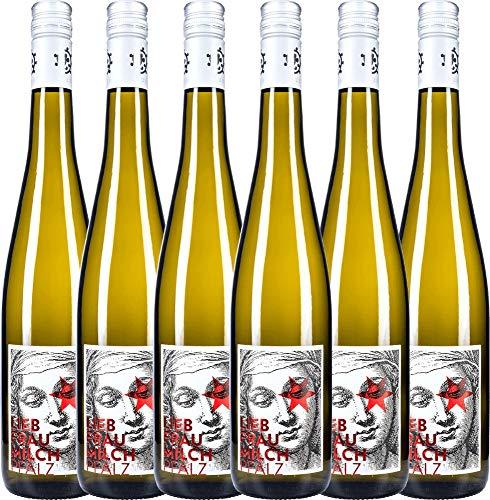 VINELLO 6er Weinpaket Weißwein - Liebfraumilch 2020 - Weingut Hammel mit Weinausgießer | halbtrockener Weißwein | deutscher Sommerwein aus der Pfalz | 6 x 0,75 Liter