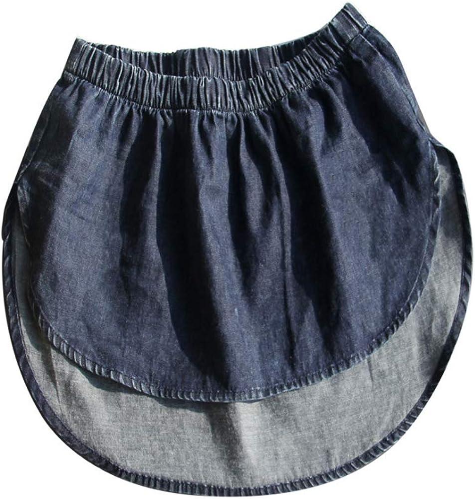 YEKEYI Fashion Denim Detachable Skirt Jean Fake Skirt Fake Hem All Match A-Line Plaid False Hem for Women Girls