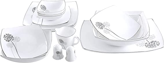 Royalford Daisy Hard Square Dinnerware Set - 29 Pieces,White,Opal