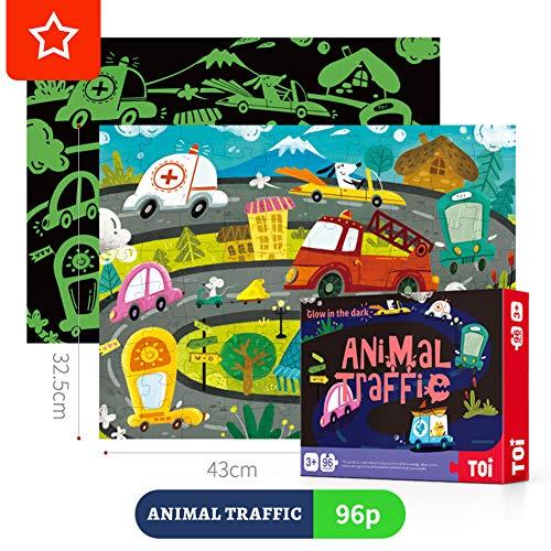 SWETIY Tier Monster Papier Puzzle, 96 Teile Fluoreszenz Puzzle, Vorschule Bildung Lernen Spiel Puzzlespaß Für Kinder Ab 5 Jahren (32.5 * 43Cm),Traffic