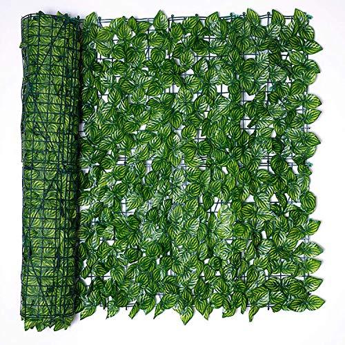 Künstliche Efeu Garten Sichtschutz, Bprtcra Balkon Blätter Zäune Sichtschutz, Hecken Zaun und künstliche Efeu Blatt Dekoration (0.5x3M)