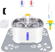 Cubic Cat Water Fountain Stainless Steel, Pet Water Fountain with Intelligent Pump and LED Light, 2.5L Cat Fountain with Water Level Window, 3 Carbon Filters, 1 Foam Filter 1 Mat and Cleaning Brushes