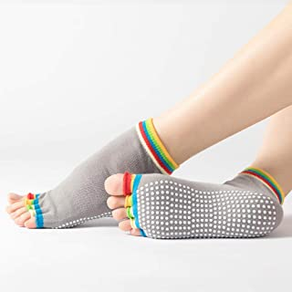 B/H, B/H Calcetines Antideslizantes para Mujeres,Calcetines de Yoga Antideslizantes Simples para Mujer, Calcetines Deportivos para Interiores, Talla C_One,Ideales para Yoga