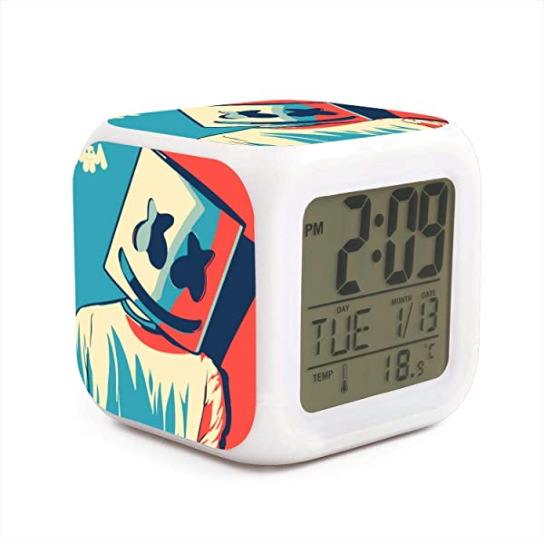 PZX STYLE Funny 7 LED Color Change Digital Thermometer Alarm Clock With LCD Display Cube Night Light For Kids Gift