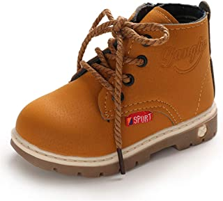 LAFEGEN Toddler Boys Girls Hiking Boots Waterproof Synthetic Leather Non Slip Lace Up Baby Kids Outdoor Work Ankle Snow Bo...