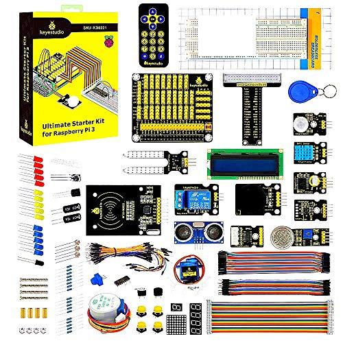 KEYESTUDIO for Raspberry Pi 4 Ultimate Starter Kit w/Tutorial, Learning Kit with Stepper Motor, GPIO, Sensor Kit for Arduino, Raspberry Pi 4 Module B/3/2/B/B+/Zero (NO RPI Controller Board)