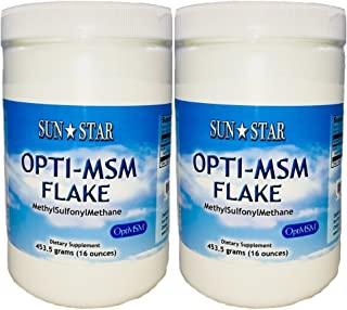 Sun Star Organics OptiMSM (Methylsulfonylmethane) Flake Powder 1 Lb (2 Pack) Natural Sulfur Supplement. Great for Hair, Sk...