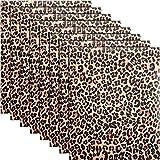 Leopard Pattern Heat Transfer Vinyl Animal Print HTV 12 x 10 Inch Iron on Vinyl for DIY Clothing T-Shirts Hats (8 Sheets)