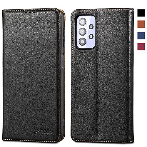 Jenuos Funda Samsung Galaxy A32 5G, Carcasa Libro de Cuero Genuino [Bloqueo RFID] con Tapa Cierre Magnético y Ranura Tarjeta Funda Piel Cartera para Samsung A32 5G 6,5