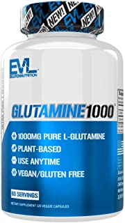 Evlution Nutrition L-Glutamine 1000, 1g Pure L Glutamine Per Serving, Post Workout, Nitrogen Transporter, Immune Support, ...
