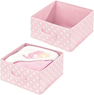 mDesign Soft Fabric Modular Closet Organizer Box, Handle for Cube Storage Units in Closet, Bedroom, Bathroom - Holds Clothing, T Shirts, Leggings, Accessories - Polka Dot Print, 2 Pack - Pink/White
