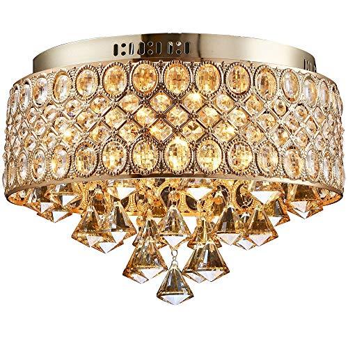 CHENJUNAMZ Lámpara de Techo de Lujo romántica de Cristal Dorada Sala de Estar Creativa Lámpara de Techo for el hogar del Hotel (38.5 * 38.5 * 30CM)