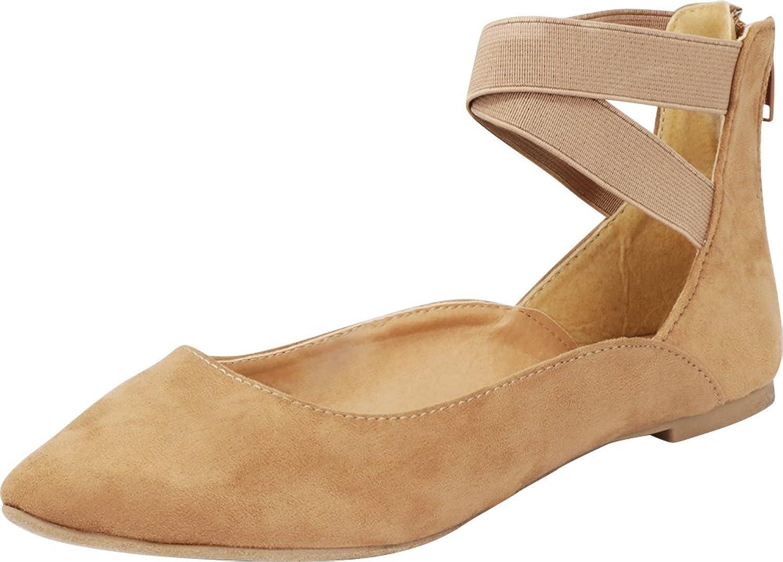 Cambridge Select Women's Closed Pointed Toe Crisscross Ankle Straps Ballerina Ballet Flat